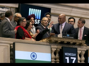 Finance Minister Jaitley Rings Closing Bell At New York Stoc