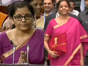 Nirmala Sitharaman Keeps In Four Fold Red Cloth