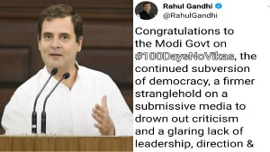 Modi 2 0 Rahul Gandhi Said Congratulations To Modi Govt For 100 Days Of No Development